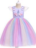 זול שמלות לבנות-שמלה עד הברך שרוולים קצרים טלאים Unicorn Party / חגים פעיל / מתוק בנות ילדים