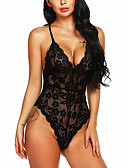 cheap Sexy Bodies-Women's Super Sexy Bodysuits Nightwear - Lace / Mesh Solid Colored / Strap