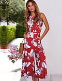 cheap Women's Jumpsuits & Rompers-Women's Beach Street chic White Red Jumpsuit, Floral Print M L XL Sleeveless