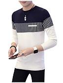 abordables Jerséis y Cardigans de Hombre-Hombre Diario Bloques Manga Larga Regular Pullover Blanco / Rojo / Azul Marino XL / XXL / XXXL