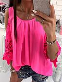 billige T-shirts og undertrøjer til herrer-Dame - Farveblok Blonder / Drapering Bluse Rød M / Forår / Sommer / Efterår