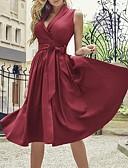 baratos Vestidos Vintage-Mulheres Vintage Delgado Reto Vestido Médio / Decote V