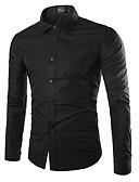 رخيصةأون قمصان رجالي-رجالي قميص أساسي لون سادة أخضر داكن XL / كم طويل