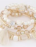 billiga Damklänningar-Dam Tofs Armband av Remmar Resin Löv Blomma Tofs Europeisk Mode Armband Smycken Kaffe / Blå / Rosa Till Party Dagligen