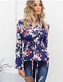 hesapli Tişört-Kadın's Pamuklu Tişört Çiçekli / Fırfırlı / Bağcık, Çiçekli Temel Havuz / Bahar / Yaz / Sonbahar / Kış / Desen