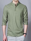 お買い得  メンズTシャツ&タンクトップ-男性用 プラスサイズ シャツ アジアン・エスニック ソリッド ベージュ XXXL / スタンド / 長袖