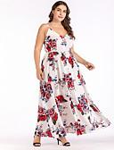 رخيصةأون فساتين قياس كبير-فستان نسائي ثوب ضيق أنيق طباعة طويل للأرض ورد