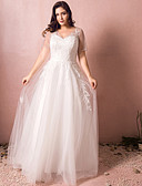 cheap Wedding Dresses-A-Line V Neck Floor Length Tulle Made-To-Measure Wedding Dresses with Appliques by LAN TING BRIDE®