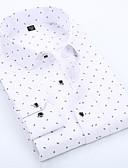 cheap Men's Shirts-Men's Work Business / Basic Cotton Slim Shirt Print Spread Collar Blue XXXL / Long Sleeve / Spring / Fall