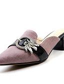 hesapli Kadın Pantolonl-Kadın's Ayakkabı Nappa Leather Yaz Terlikler ve Sandaletler Kalın Topuk Günlük için Mor / Pembe / Badem