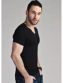 cheap Men's Shirts-men's asian size t-shirt - color block v neck
