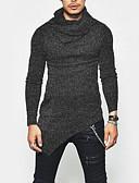 お買い得  メンズTシャツ&タンクトップ-男性用 Tシャツ ベーシック ラウンドネック ソリッド コットン グレー L / 長袖