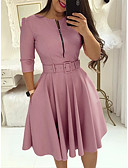 cheap Party Dresses-Women's Daily Basic Swing / Skater Dress - Solid Colored Pleated High Waist Purple Wine Light Blue M L XL / Sexy