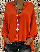 cheap Women's Blouses-Women's Daily Plus Size Blouse - Solid Colored Deep V Orange