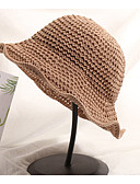 זול כובעים לנשים-כחול נייבי אפור חאקי כובע שמש אחיד קש בסיסי בגדי ריקוד נשים