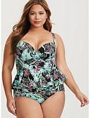 preiswerte Badebekleidung in Übergröße-Damen Grundlegend Gurt Rosa Dunkelgray Beige Cheeky-Bikinihose Einteiler Bademode - Geometrisch XL XXL XXXL Rosa / Sexy