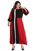 abordables Robes Grandes Tailles-Femme Grandes Tailles Elégant Maxi Gaine Robe Bloc de Couleur Rouge XXXL XXXXL XXXXXL Manches Longues / Sexy