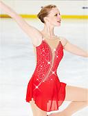 abordables Leggings para Mujer-Vestido de patinaje artístico Mujer / Chica Patinaje Sobre Hielo Vestidos Rojo Costura asimétrica Alta elasticidad Competencia Ropa de Patinaje Diseño Anatómico, Hecho a mano Clásico / Moda Manga