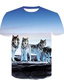 billige T-skjorter og singleter til herrer-Rund hals T-skjorte Herre - Dyr, Trykt mønster Gatemote Klubb Ulv Lyseblå XXL / Kortermet
