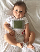 Χαμηλού Κόστους Βρεφικά Για Αγόρια σετ ρούχων-Μωρό Αγορίστικα Κομψό στυλ street Καθημερινά Στάμπα Κοντομάνικο Πολυεστέρας Ένα Κομμάτι Λευκό