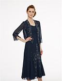 זול שמלות במידות גדולות-שרוול 4\3 שיפון חתונה / מסיבה\אירוע ערב כיסויי גוף לנשים עם חרוזים בולרו