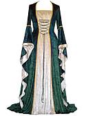 abordables Vestidos Lolita-Retro / Vintage Medieval Disfraz Mujer Vestidos Rojo / Verde / Azul Cosecha Cosplay Fiesta Fiesta de baile Manga Larga Manga de la llamarada Hasta el Suelo Longitud Larga