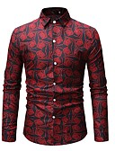 cheap Men's Shirts-Men's Beach Basic Asian Size Cotton Shirt - Geometric / Color Block Print / Long Sleeve