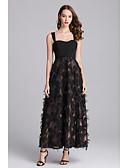 hesapli Tişört-Kadın's Temel Çin Stili A Şekilli Çan Elbise - Solid Zıt Renkli, Kırk Yama Desen Midi