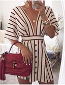 hesapli Mini Elbiseler-Kadın's Pamuklu A Şekilli Elbise Derin V Diz üstü / Sexy