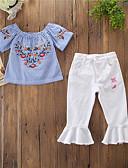 povoljno Obiteljski komplet odjeće-Djeca Dijete koje je tek prohodalo Djevojčice Aktivan Osnovni Dnevno Izlasci Blue & White Prugasti uzorak Cvjetni print Print Kratkih rukava Regularna Pamuk Komplet odjeće Plava