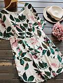 halpa Pluskokoiset mekot-Naisten Löysä Kukka Perus Pluskoko - Pusero, Rose Valkoinen / Korka vyötärö / Kevät / Kesä / Seksikäs