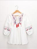 Χαμηλού Κόστους Φορέματα για κορίτσια-Νήπιο Κοριτσίστικα Γλυκός / Κινεζικό στυλ Tribal Μακρυμάνικο Φόρεμα Θαλασσί