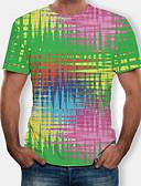 abordables Camisetas y Tops de Hombre-Hombre Camiseta, Escote Redondo Bloques Verde Trébol XXXXL / Manga Corta