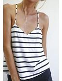 baratos Camisetas Femininas-Mulheres Malha Íntima Frente Única, Listrado