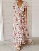 tanie Print Dresses-Damskie Plaża Podstawowy Boho Szczupła Pochwa Sukienka - Kwiaty Geometric Shape Głęboki dekolt w serek Maxi / Seksowny