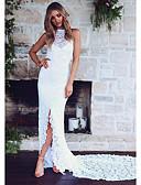 저렴한 로맨틱 레이스-여성용 파티 칼집 드레스 레이스 뒷면이 없는 스타일 맥시 크루넥 / 섹시