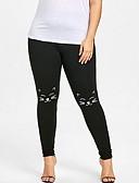 hesapli Kadın Kapşonluları-Kadın's Büyük Bedenler Spor Legging - Solid, Desen Orta Bel Siyah XXXL XXXXL XXXXXL / Dar