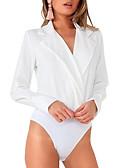 Недорогие Боди-Жен. Bodysuit Рубашечный воротник Однотонный