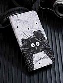 זול מגנים לטלפון-מגן עבור Samsung Galaxy Galaxy A7(2018) / Galaxy A10 (2019) / Galaxy A30 (2019) ארנק / מחזיק כרטיסים / עם מעמד כיסוי מלא חתול עור PU