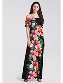 hesapli Maksi Elbiseler-Kadın's Temel Zarif Dar Çan Elbise - Çiçekli, Desen Düşük Omuz Maksi Yüksek Bel