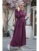 abordables Vestidos Maxi-Mujer Festivos Boho Elegante Corte Ancho Abaya Kaftan Vestido - Frunce, Un Color Alta cintura Maxi