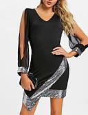 Χαμηλού Κόστους Φορέματα NYE-Γυναικεία Μεγάλα Μεγέθη Πάρτι Βασικό Λεπτό Θήκη Φόρεμα - Μονόχρωμο, Πούλιες Δίχτυ Ασύμμετρο Λαιμόκοψη V
