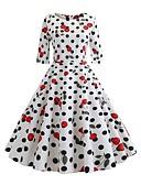 voordelige Vintagejurken-Dames Street chic Wijd uitlopend Jurk - Polka dot Bloemen, Print Tot de knie