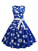 halpa Vintage-kuningatar-Naisten Vintage 1950-luku A-linja Mekko - Polka Dot, Painettu Polvipituinen