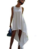 cheap Women's Dresses-Women's Basic Swing Dress - Solid Colored White Black M L XL