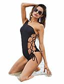 cheap One-piece swimsuits-Women's Basic Black Bandeau Cheeky One-piece Swimwear - Solid Colored XXXL XXXXL XXXXXL Black