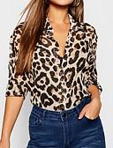 hesapli Gömlek-Kadın's Gömlek Yaka Gömlek Leopar Kahverengi