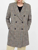 abordables Manteaux en Laine et Mélange de Laine pour Femme-Femme Quotidien Normal Manteau, Pied-de-poule Col de Chemise Manches Longues Polyester Kaki S / M / L