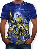 hesapli Erkek Tişörtleri ve Atletleri-Erkek Yuvarlak Yaka Tişört Desen, Zıt Renkli / 3D / Kuru Kafalar Havuz