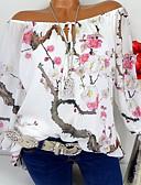 hesapli Bluz-Kadın's Düşük Omuz Tişört Desen, Çiçekli Sokak Şıklığı Dışarı Çıkma Büyük Bedenler Beyaz / Bahar
